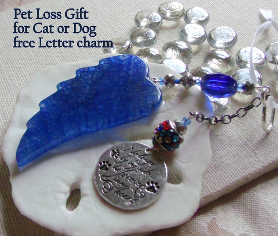 Pet loss gift - deep blue agate wing - kitchen / window decor -  personalize pet loss gift  -  angel wing ornament - Dog  - cat memory gift