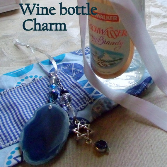 Stand for Israel Gift - Judaic Wine bottle decor - blue Sun catcher - Jewish hostess gift - teal geode slice - Star of David charm
