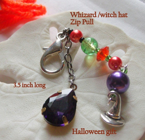 Halloween gift - Witch hat charm zipper pull - orange fall treat - Trick or treat - Halloween party gift - purse charm -  Fun party favors