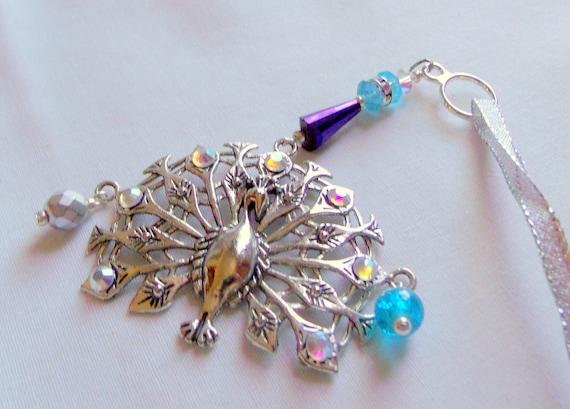 Rhinestone Peacock ornament - ornate silver - large aqua purple home decor - holiday tree pendant - Bird lover gift - Exotic bird - Hanukkah