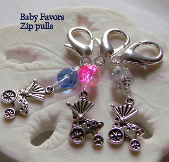 Baby carriage zipper pull - pink shower charms -  diaper bag clip -  new baby gift - proud grandma -  silver pram  -  party favors - new Mom