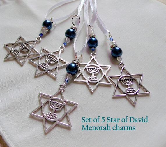 Five pc Hanukkah gift set - Menorah charm - blue pearls - celebration - Jewish ornaments and bag  - festive home decorations - Star of David