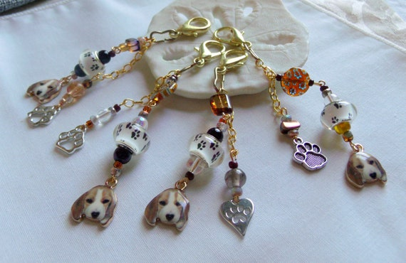 Beagle puppy charm- dog carrier - stylish beagle zipper pull - journal paw charm - tassel - breeder gift