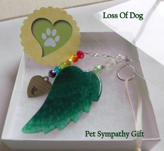 Pet loss gift - green angel wing - agate pendant - Pet Sympathy gift - memento -  Dog loss - memorial - cherish your dog - gift box set