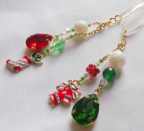 Glitz charm Christmas ornaments- teardrop tassel gift - red gold  mini tree decorations - bell charm - candy cane - secret Santa for women