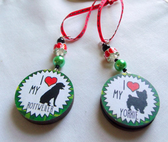 Dog ornaments - puppy zipper pulls - i love my Lab - Rottweiler - dog charms - Bulldog mama - gift for breeders - beagle car charm - heart