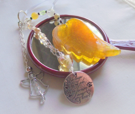 Pet loss gift - yellow angel wing - agate pendant - Dog Sympathy gift - memento - cat memorial -  gift box set - pet urn memento - cremation