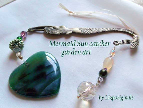 Mermaid garden art - gem heart sun catcher - green garden decor - for little mermaids - pearl fairy tale wall decor - brass mermaids - gift