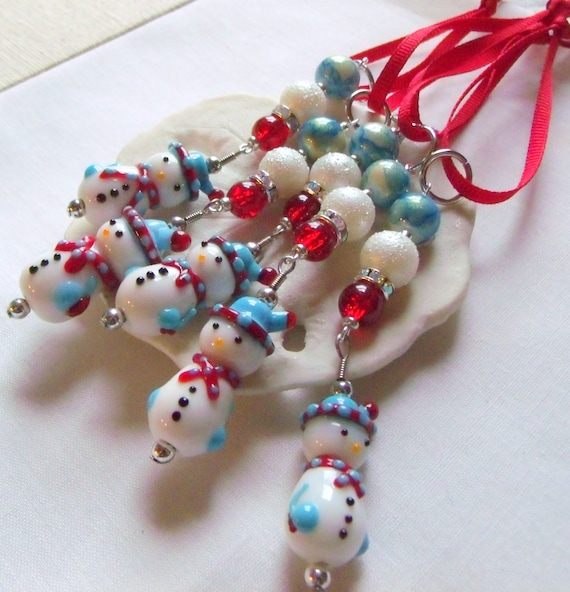 Snowman ornaments - red Holiday gift  - Christmas tree  - blue beaded accents - bus driver and hostess gift - country home and cottage chic