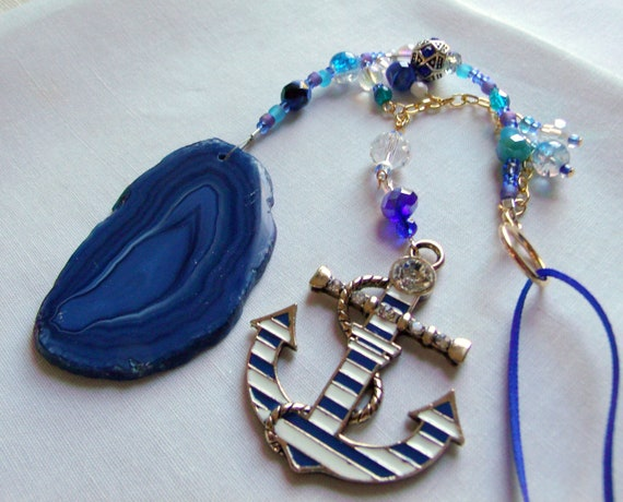 blue and white anchor pendant - wall accents for boat - voyage gift - sun catcher - yacht club gift - captain and sailors - geode slice