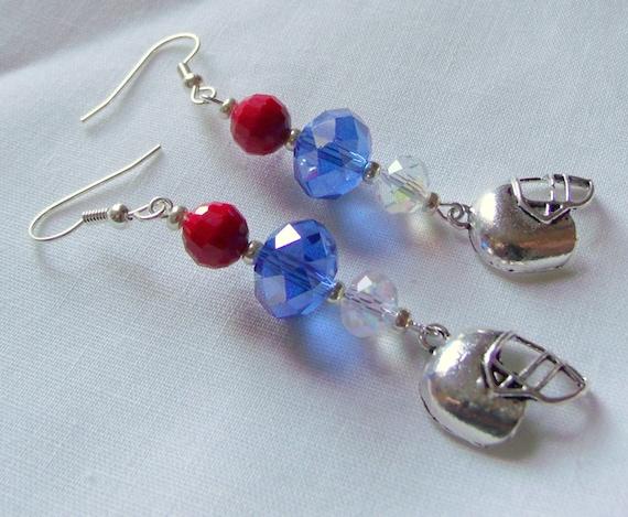 Blue football earrings - new England football team - patriotic colors - support the team - helmet earrings - sport earrings - Lizporiginals