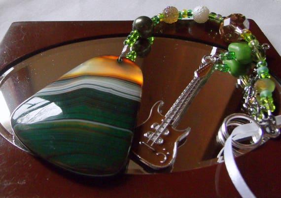 Green guitar sun catcher - rear view mirror charm - honey agate pendant - rock band memento - Musician gift - Boyfriend - Fathers day
