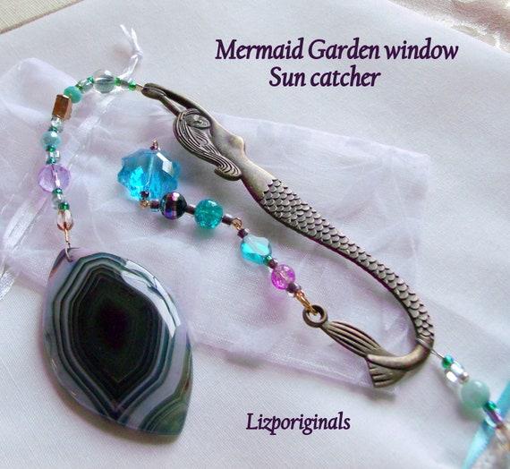 Mermaid sun catcher - Aqua bead garden decor - for little mermaids - pink fairy tale wall decorations - teen girl gift - beaded charm