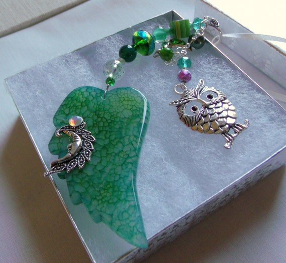 Owl and moon sun catcher - car charm - green agate wing  gift - crescent moon -  window ornament - night time memento - unusual owl