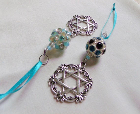 Star of David home decorations - window ornament - car charm - Stand for Israel - Holocaust memory gift - Judaica  -  aqua crystal ball