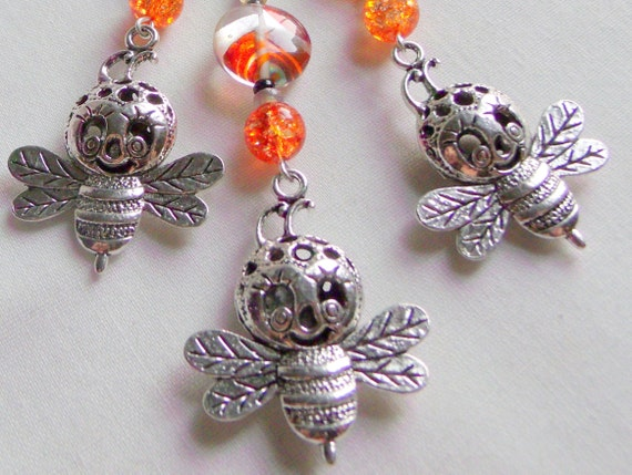 Bee zipper charms - happy bee - whimsical bee journal clip - for bee keepers - gardeners gift - honey bee - save the bee's - orange bead Bee