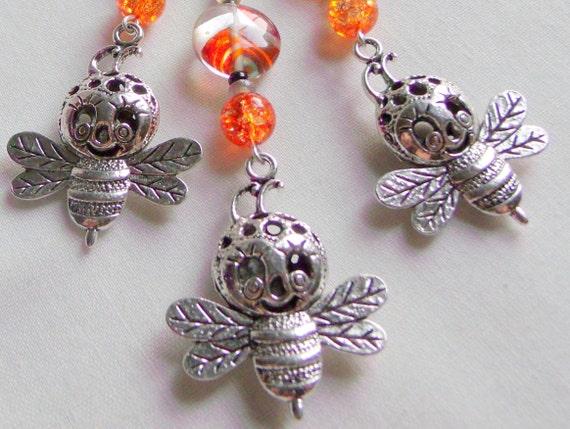 Bee zipper charms - happy bee - whimsical bee journal clip - for bee keepers - gardeners gift - honey bee - save the bee's - orange bead Bee