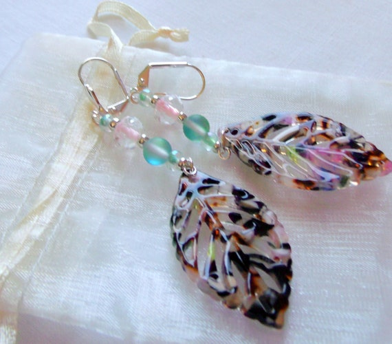 Spring leaf earrings -Multi color brown leaf - openwork light weight - green shimmer leaf earrings - Nature lovers gift - Lizporiginals