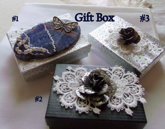 Blue Lace gift boxes - small jewelry box - butterfly  - pink rhinestone gift box - teen girl  - keepsake - metallic flowers - unique gift