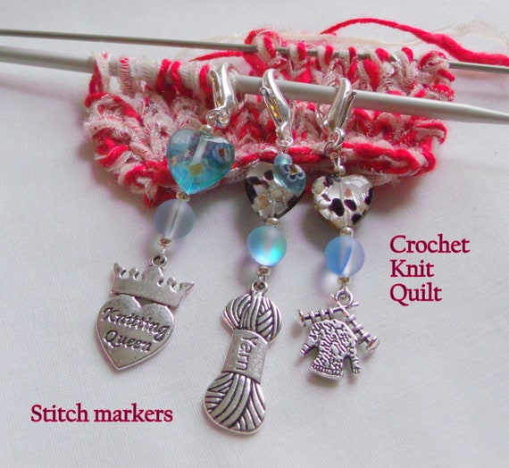 Stitch markers  - glass hearts - yarn zipper pull  - sweater charms - progress keeper - crochet placefinder - knitting bag  - knitting gift