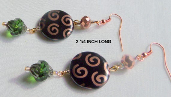 Copper swirl earrings - metallic flat - helix disk earrings - abstract look -  short - long dangle earring - glass coin bead - Lizporiginals