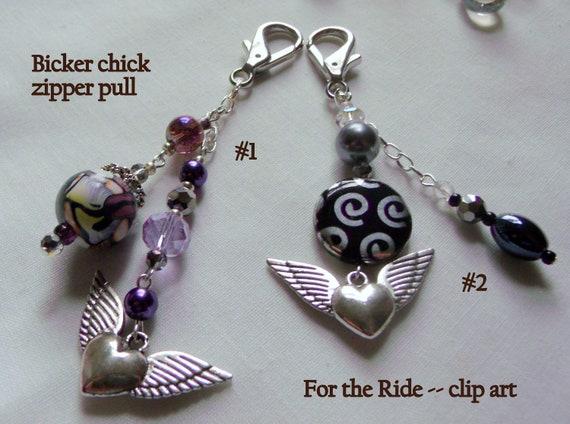 Biker chick zipper pull - wing tassel bag clip - motorcycle gang gift - Biker babe - key chain ring - angel protection - safe ride zip