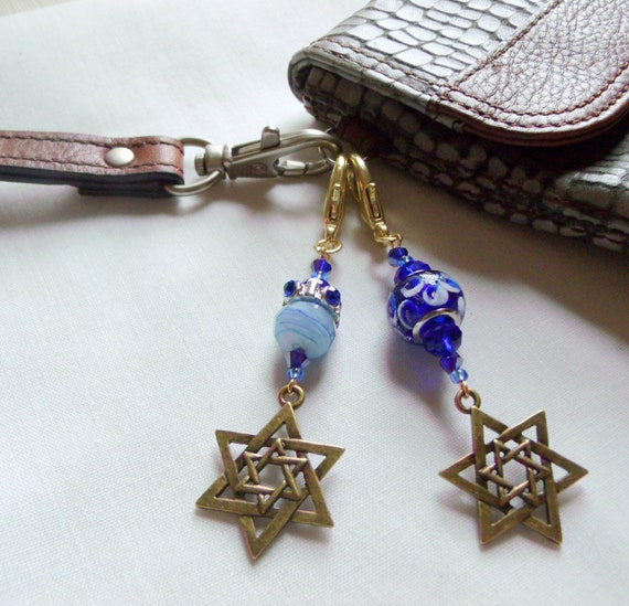 Star of David zipper pull - Bar and bat mitzvah party favors - travel journal charm -  Stand for Israel - Tefillin bag - blue Tallit charm
