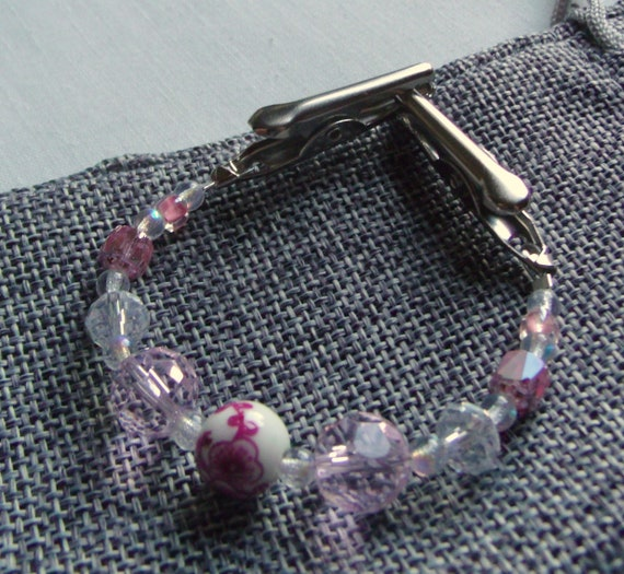 "6 "" Sweater or Shawl clip with elegant multi-faceted crystals - rose quartz beads - sweater guard -  Pashmina clip - 7 "" pink scarf clip"
