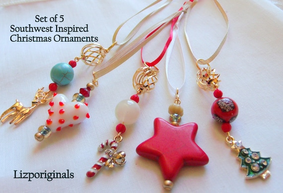 Set of 5 Mini tree ornaments - I love Arizona gift - southwest holiday gift - Christmas - red star - charms - turquoise gold tree hangers