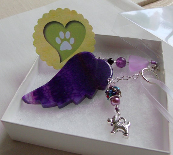 Pet loss gift - purple wing ornament - agate pendant - angel wing - Pet sympathy gift - dog loss - window ornament - fur baby memento