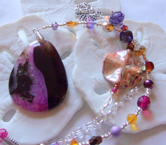 Lilac  sun catcher - druzy agate gem -  brown pink - sandal car charm - wall art -  hanging stone  - office decor -  student gift  - mirror