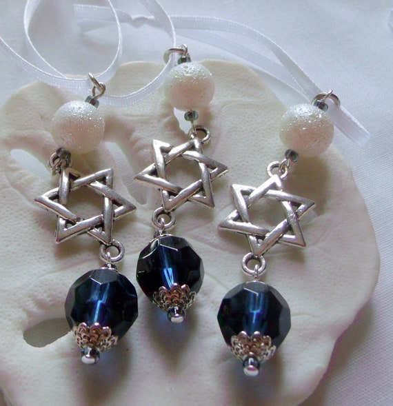 Passover ornaments - small gift set - teal crystals - hanging home decor - star of David - set of 3 - Hostess Seder gift - Lizporiginals