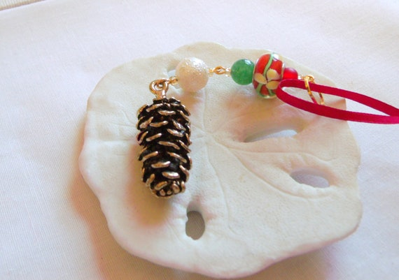 Gold pinecone ornament - fall decorations - red Christmas tree hangers - Secret Santa gift - rustic - nature inspired - housewarming gift