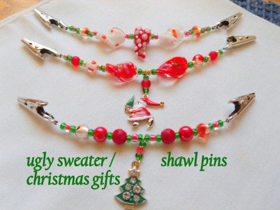 Christmas sweater guard -  cardigan - red shawl clip - holiday gift - whimsical scarf clip - Santa charm - Christmas tree - ugly sweater