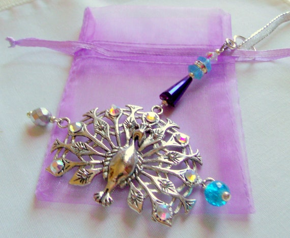 Rhinestone Peacock ornament - ornate silver - large aqua purple home decor - holiday tree pendant - Bird lover gift - Exotic bird - Hanukkah