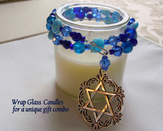 Cobalt blue candle garland - Star of David candle ring - table decorations - pillar- Jewish holiday hostess gifts  - beaded candle wrap