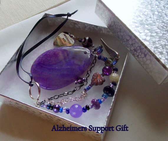 Alzheimers support gift - gemstone pendant - purple ribbon - awareness - Alzheimer memento - agate Sun catcher -  Nursing home gift