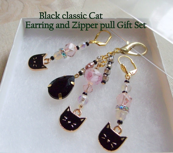 Cat lover gift set - Classic black cat earrings -  zip pull -  black cat charms - kitty -  I love cat club - tassel zipper pull - purse clip