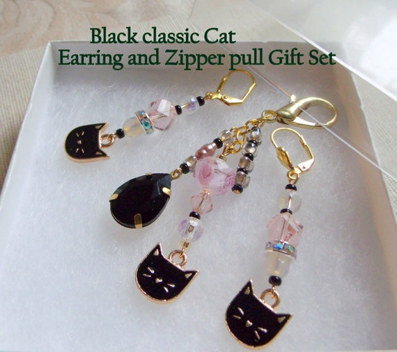 Classic black cat earring zip pull gift set - for cat lovers - kitty gifts -  I love cat club gift - tassel zipper pull - cat purse clip