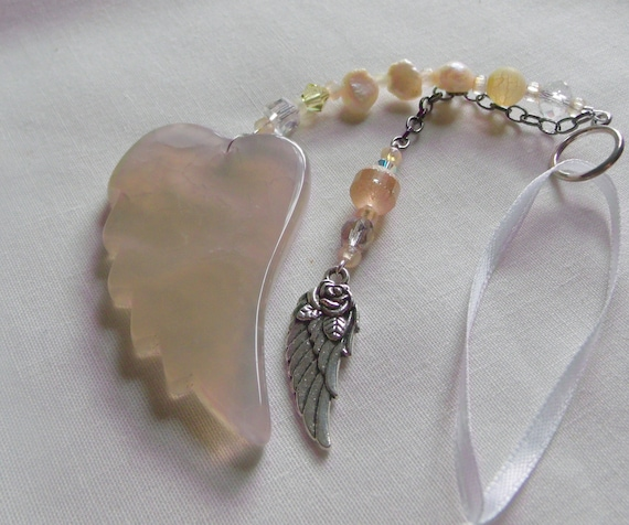 Memory grief gift - Custom Sympathy memento - angel wing ornament - Loss of friend - memorial charm - funeral - cremation shrine - car charm