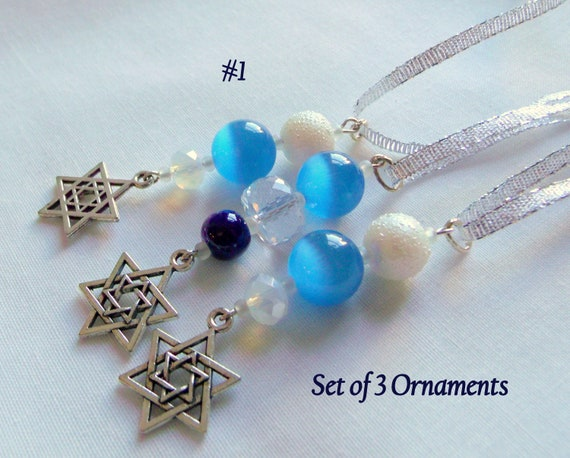 Passover gift favors - star of David ornaments - Seder basket - blue crystal charms - Jewish holiday gifts - Judaica - set of 3 - Seder gift