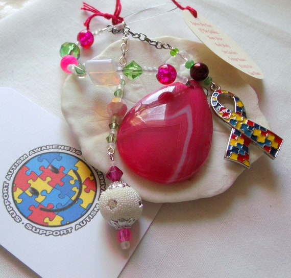Autism gift - Puzzle ribbon charm - Autism awareness - Autism Mom - personalized autism gift - window ornament - car charm - pink teardrop