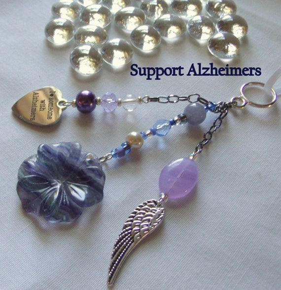 Alzheimers support gift - gemstone flowers - purple  awareness - Alzheimer memento -  for the cure - Forget me not - flower ornament