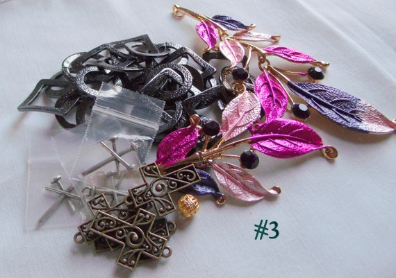 Mixed bead grab bag, crystal - acrylic bead soup - blue agate geode slice --  green agates - charm mix - pink bead soup - sculls
