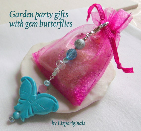 Turquoise butterfly clip - journal  - garden party favors - baby shower gifts - women tea - jade bag charms - turquoise insect - gemstone