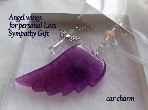 Loss of loved one - Sympathy gift - grieving relatives - bereavement - for her memory - Angel wing car charm - Condolence gift - agate wings