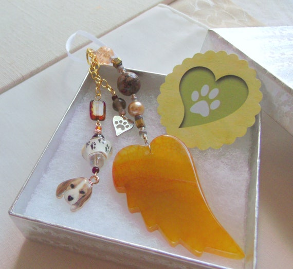 Loss of beagle gift - pet sympathy - dog memento - I love my beagle - wing pendant - yellow agate car charm - cremation box - pet shrine