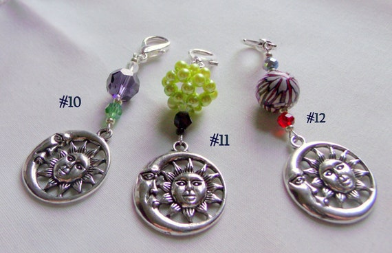 Moon and sun zipper pull - celestial charm - night time bag charm - journal clip - party gifts - half moon - beaded sun charm - purse