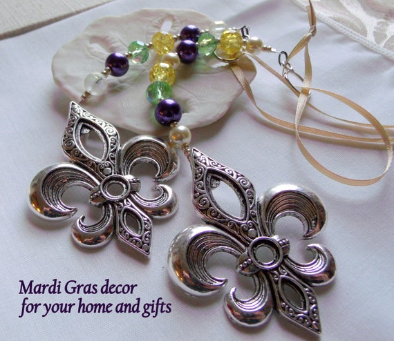 Fleur de Lis Mardi Gras ornament - home decoration - Fat Tuesday - purple pearl bottle charm - large silver southern fleur gift - Louisiana