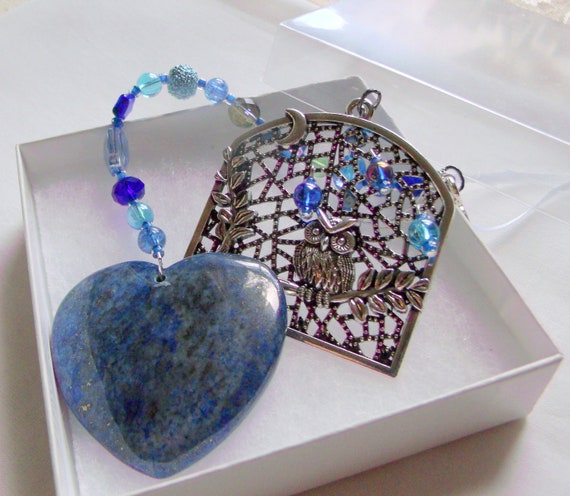Blue owl charm sun catcher - blue lapis gem heart - I love owls gift - window ornament - owlishly cute -  for lovers of owls - night time